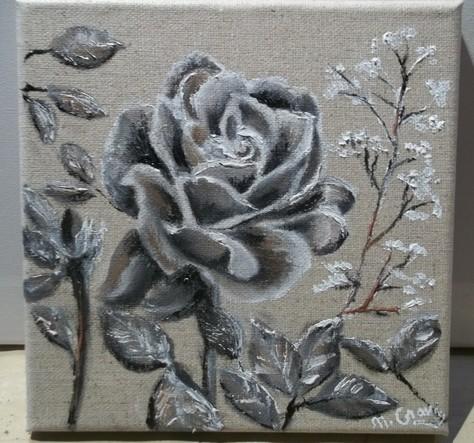 rose sur toile de lin